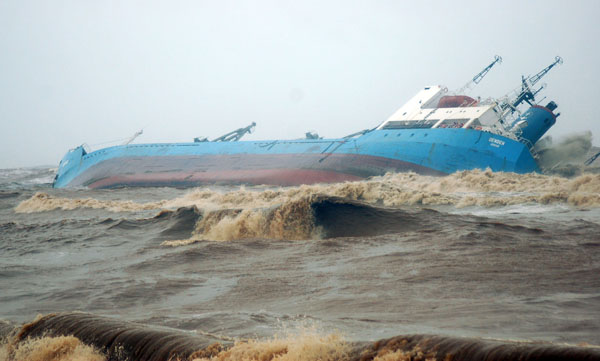 DenDen Ship Grounded on Beach in India