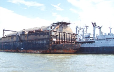 hughes mining barge rusted up