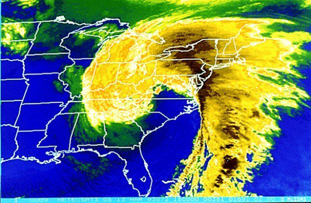"""Satellite imagery of the """"Storm of the Century"""" on March 13, 1993."""