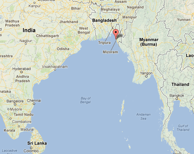 The attack is believe to have occurred 20 miles from the Kutubdia Channel, Bangladesh, marked here.