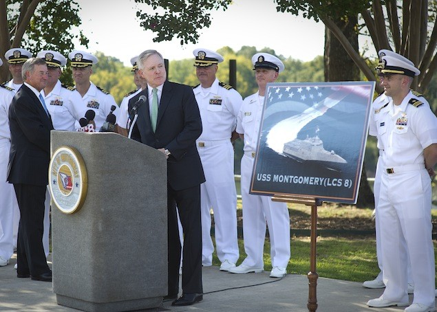ACKERMAN, Miss. (Oct. 6, 2011) Secretary of the Navy (SECNAV) Ray Mabus and Montgomery Mayor Todd Strange, left, celebrate the naming of the eighth littoral combat ship, USS Montgomery (LCS 8). (U.S. Navy photo by Chief Mass Communication Specialist Sam Shavers/Released)