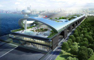 A artist rendition of the terminal. Image courtesy Genting Hong Kong. Click for large