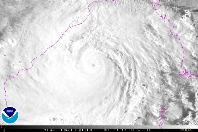 Visible imagery of Cyclone Phailin shows the storm approaching India's east coast. Image (c) NOAA