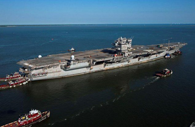 The first nuclear-powere aircraft carrier, USS Enterprise (CVN 65), made her final voyage to Newport News Shipbuilding in June 2013, where it will be the first to undergo inactivation. Photo by John Whalen