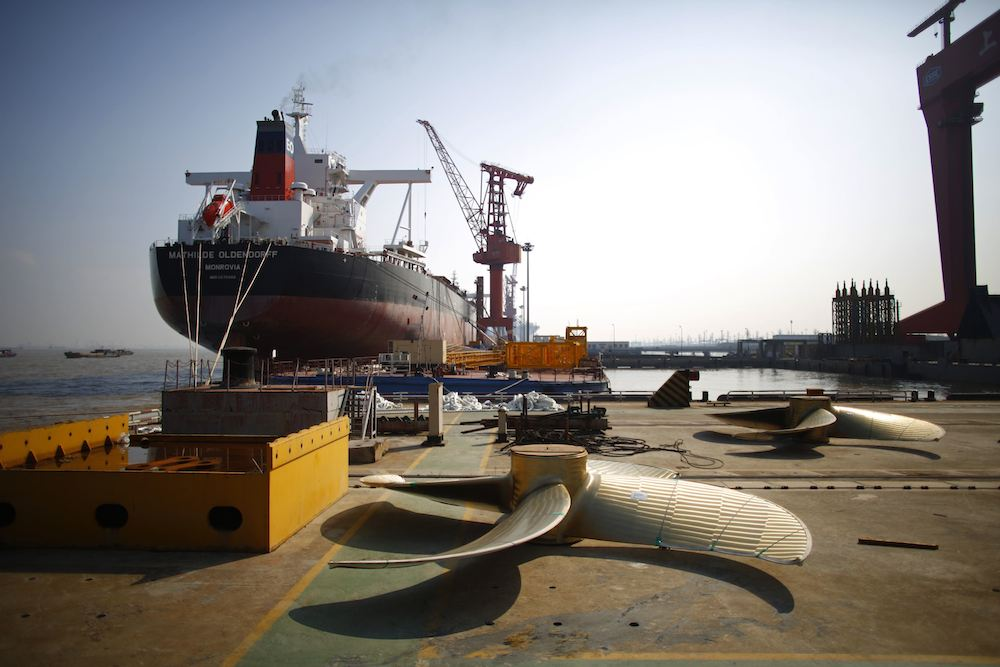 A vessel under construction is seen at the Waigaoqiao shipyard in Shanghai November 5, 2013. REUTERS/Carlos Barria