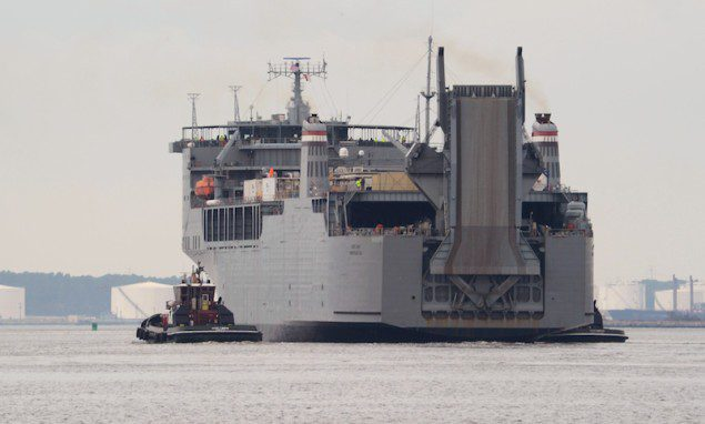 The Military Sealift Command container ship MV Cape Ray (T-AKR 9679) departs row General Dynamics NASSCO-Norfolk shipyard for sea trials on January 10, 2014. U.S. Navy Photo