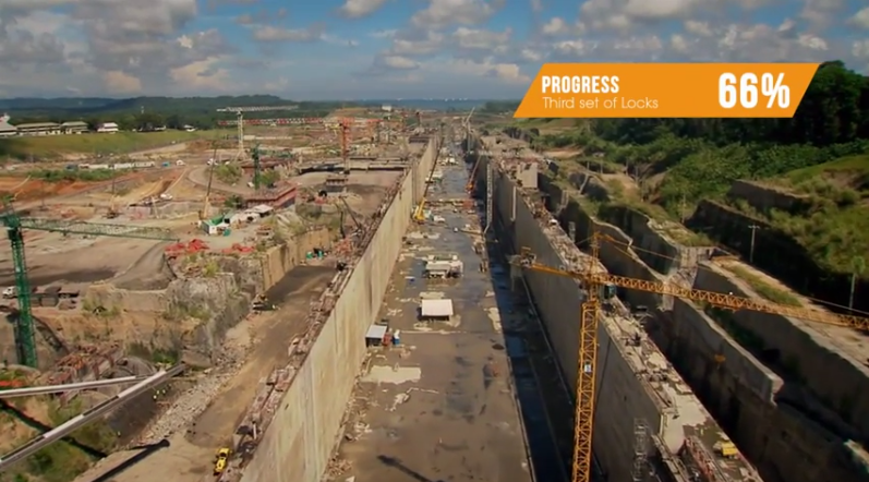 Lock construction via January 2014 Panama Canal Expansion update video below.