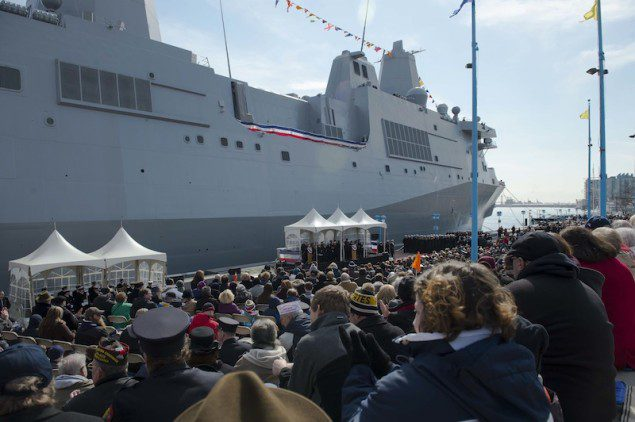 Thousands of Navy and Marine Corps supporters attend the commissioning ceremony of the San Antonio class, amphibious transport dock USS Somerset (LPD 25) March 1. U.S. Navy Photo