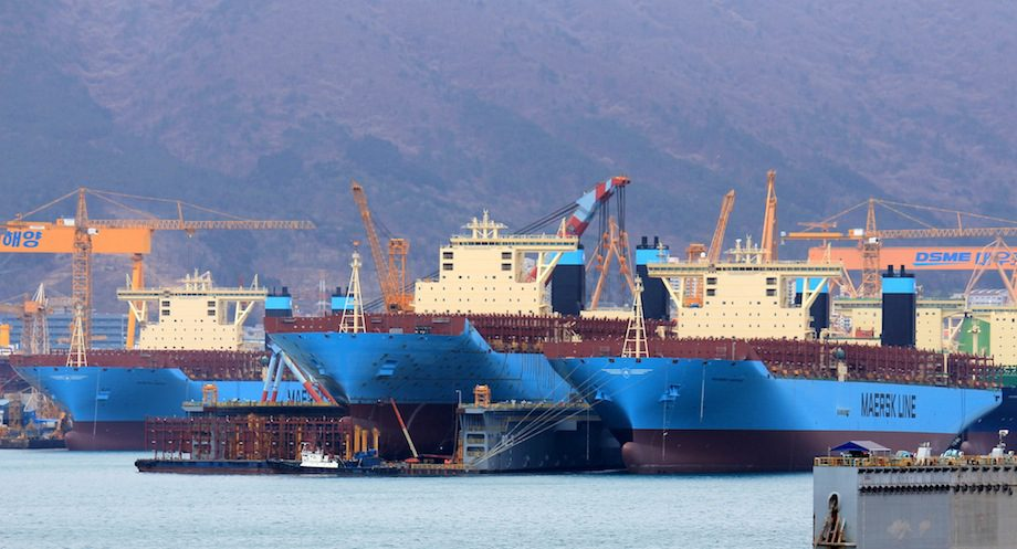 Triple-E's under construction at the DSME shipyard. File photo: Lappino