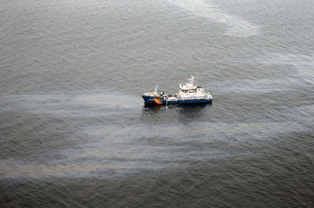 A Swedish Coast Guard vessel cleans up oil near the wreck site of the MS Immen in the Baltic Sea. Photo courtesy Swedish Coast Guard