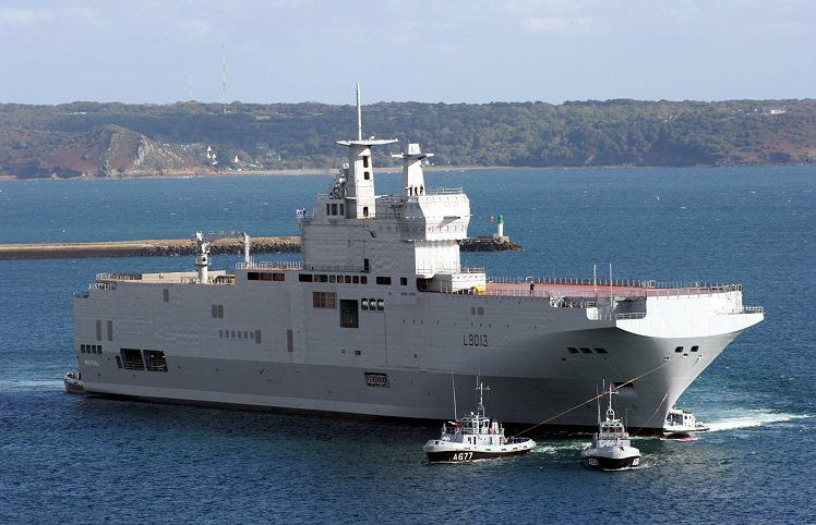 File photo shows a Mistral helicopter carrier shortly after launch. Credit:  Wikimedia Commons