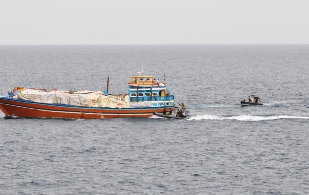 A boarding team from an EU NAVFOR warship in the Gulf of Aden carries out a friendly approach with local seafarers in the Gulf of Aden. Photo courtesy EU NAVFOR