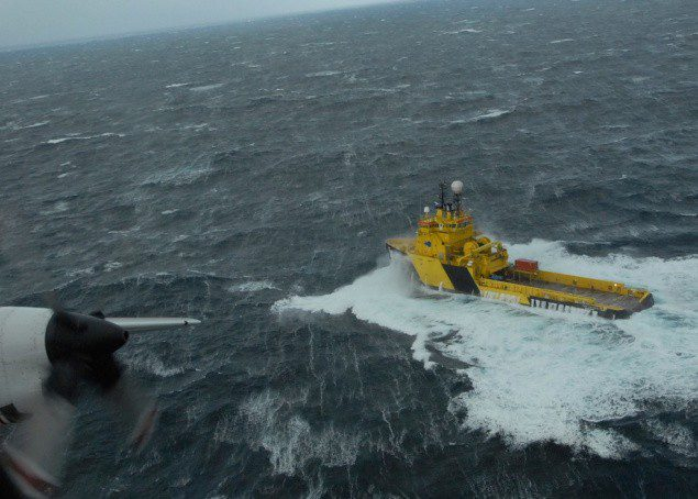 KODIAK, Alaska - The crew of the tug Tor Viking II is observed by an Air Station Kodiak HC-130 Hercules crew making 12 mph through 20 foot waves and 46 mph winds 48 miles from the 738-foot cargo vessel Golden Seas in the Bering Sea Dec. 4, 2010. The tug in en route to take the cargo vessel in tow to Dutch Harbor. U.S. Coast Guard photo by Petty Officer 1st Class Sara Francis.