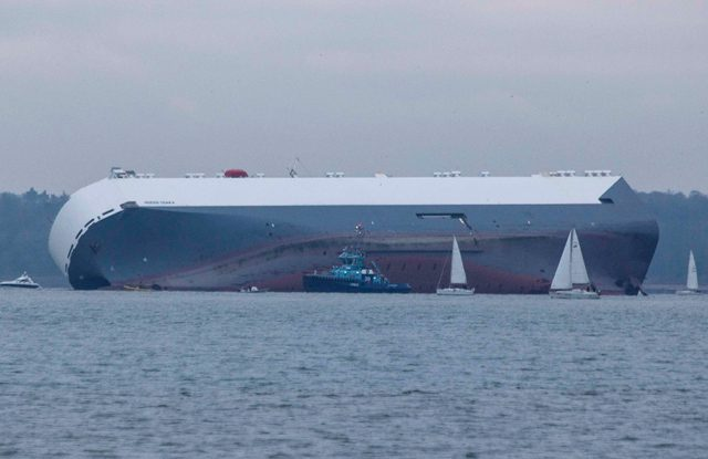 hoegh osaka car carrier aground