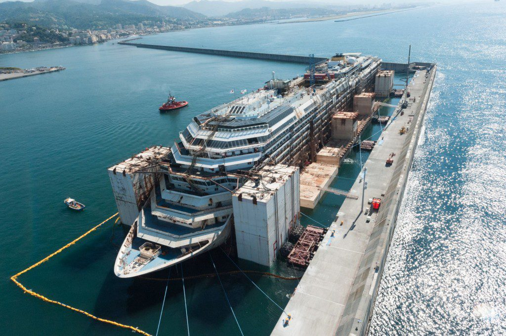 """The Costa Concordia moored at the """"Seawall"""" pier in Genoa, Italy in July 2014. Photo: Ship Recycling Consortium"""