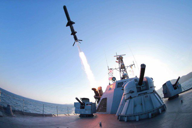 A missile is fired from a naval vessel during the test-firing of a new type of anti-ship cruise missile to be equipped at Korean People's Army (KPA) naval units in this undated photo released by North Korea's Korean Central News Agency (KCNA) in Pyongyang February 7, 2015. REUTERS/KCNA