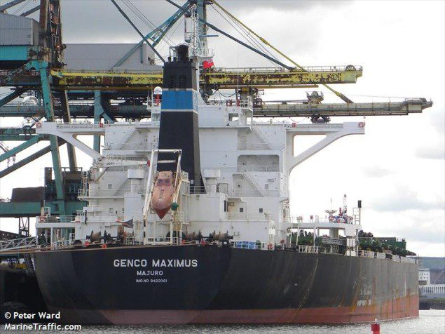 MV Genco Maximus, a 2009-built capesize bulk carrier. Photo: MarineTraffic/Peter Ward