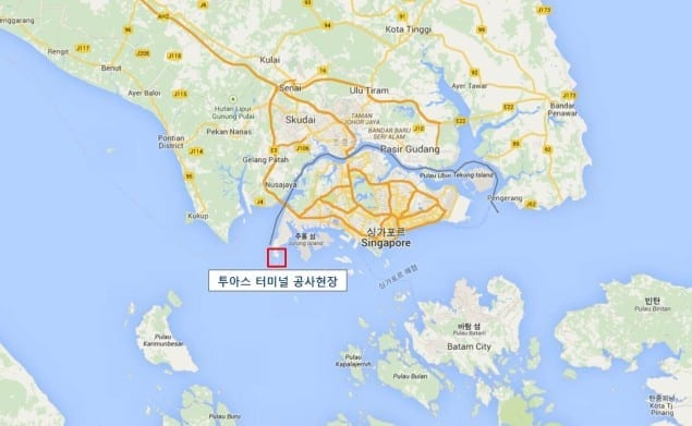 The location of Tuas Terminal Phase 1. Map: Daelim
