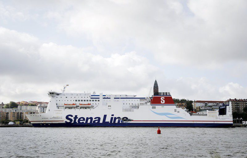 A hole is seen on the side of Stena Line passenger ferry Stena Jutlandica in the harbour of Gothenburg, Sweden, July 19, 2015.  REUTERS/Adam Ihse/TT News Agency