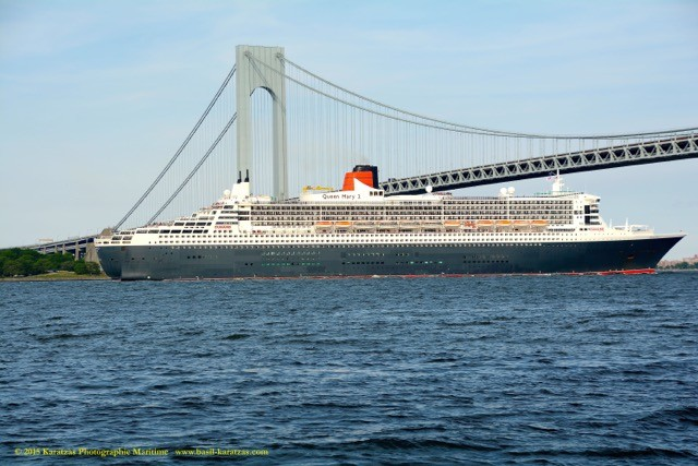 The Cunard cruise ship Queen Mary 2 sails under the Verrazano Bridge entering New York Harbor. File photo.