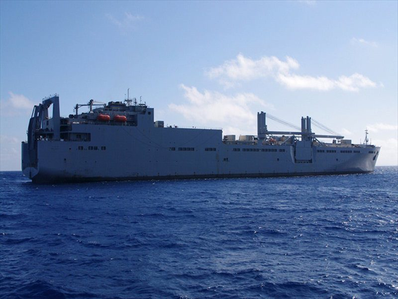 The USNS Red Cloud with a damaged U.S. Army helicopter on its deck sails off Okinawa island, southern Japan, in this handout photo taken and released by the 11th Regional Coast Guard Headquarters - Japan Coast Guard August 12, 2015. The helicopter crashed in waters off the Japanese southern island of Okinawa during a training mission on Wednesday, injuring six people and prompting Japan's government to demand a probe and steps to prevent a recurrence.  Mandatory Credit REUTERS/11th Regional Coast Guard Headquarters - Japan Coast Guard/Handout via ReutersATTENTION EDITORS - THIS PICTURE WAS PROVIDED BY A THIRD PARTY. REUTERS IS UNABLE TO INDEPENDENTLY VERIFY THE AUTHENTICITY, CONTENT, LOCATION OR DATE OF THIS IMAGE. FOR EDITORIAL USE ONLY. NOT FOR SALE FOR MARKETING OR ADVERTISING CAMPAIGNS. THIS PICTURE IS DISTRIBUTED EXACTLY AS RECEIVED BY REUTERS, AS A SERVICE TO CLIENTS. MANDATORY CREDIT