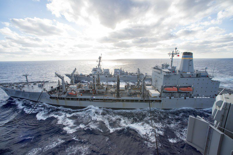 151008-N-KK394-174 ATLANTIC OCEAN (Oct. 8, 2015) The aircraft carrier USS Dwight D. Eisenhower (CVN 69) and the guided-missile destroyer USS Nitze (DDG 94) conduct an underway replenishment with the Military Sealift Command fleet replenishment oiler USNS Kanawha (T-AO 196). Dwight D. Eisenhower is underway conducting carrier qualifications. (U.S. Navy photo by Mass Communication Specialist Seaman Anderson W. Branch/Released)