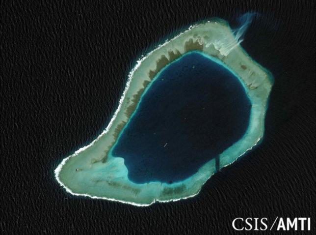 Subi reef, located in the disputed Spratly Islands in the South China Sea, is shown in this handout CSIS Asia Maritime Transparency Initiative satellite image