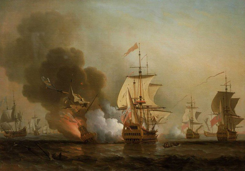 An oil painting of the explosion of the San José during a 1708 battle off Cartagana, Colombia. Image: Creative Commons