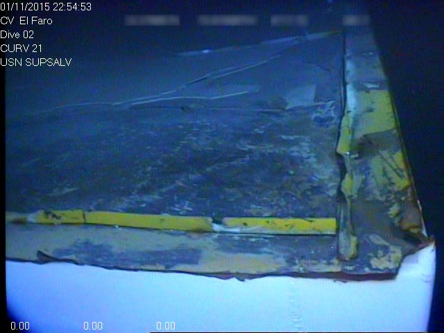 Corner of deck where El Faro navigation bridge detached