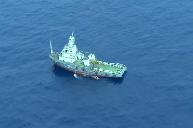 An aerial view of a vessel is seen as rescue teams recover debris of the EgyptAir jet that crashed in the Mediterranean Sea, in this still image taken from video on May 21, 2016. Egyptian Military/Handout via Reuters TV ATTENTION EDITORS - THIS IMAGE WAS PROVIDED BY A THIRD PARTY. EDITORIAL USE ONLY. NO RESALES. NO ARCHIVE.