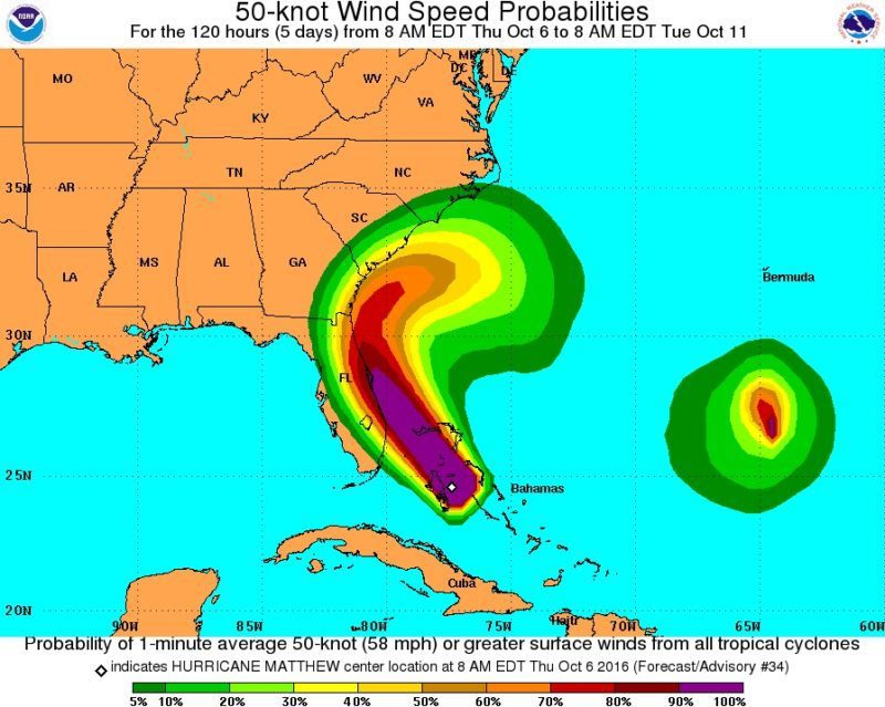 NHC Risk for damaging 50 knot (58mph) or higher wind speeds