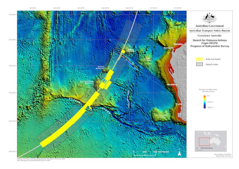 ATSB map showing the current MH370 search area along the 7th arc.