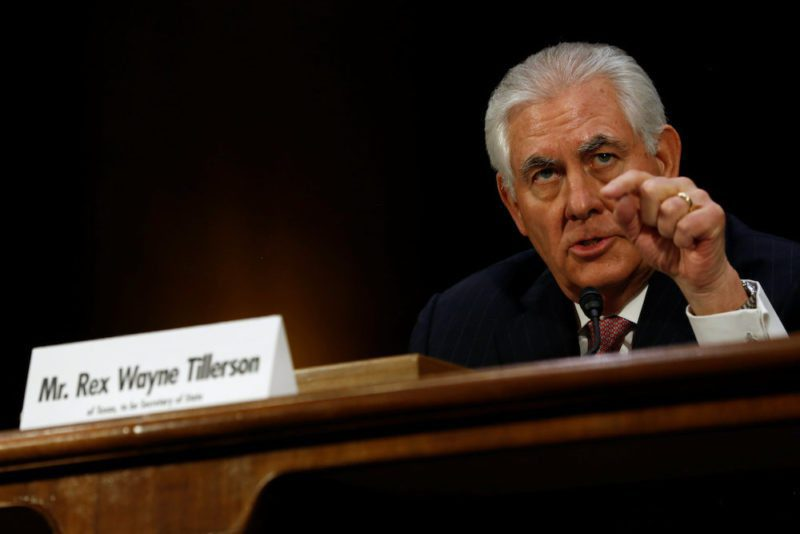 Rex Tillerson, the former chairman and chief executive officer of Exxon Mobil, testifies before a Senate Foreign Relations Committee confirmation hearing on his nomination to be U.S. secretary of state in Washington, U.S. January 11, 2017.  REUTERS/Jonathan Ernst