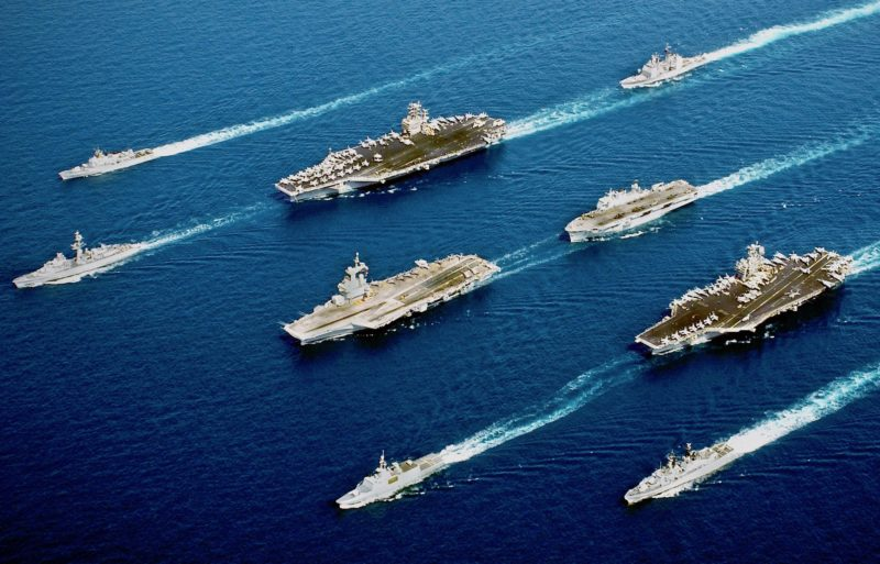 Navy Aircraft Carriers Underway in Formation