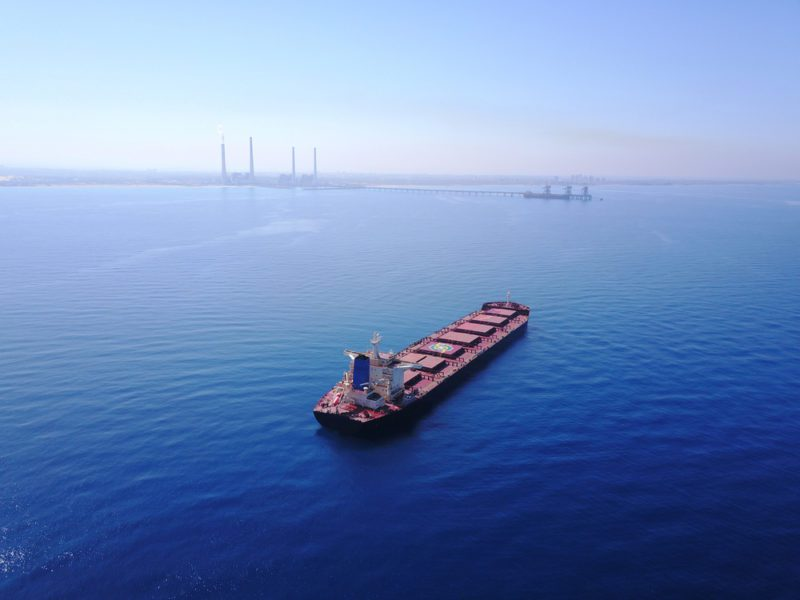 bulk carrier at anchor