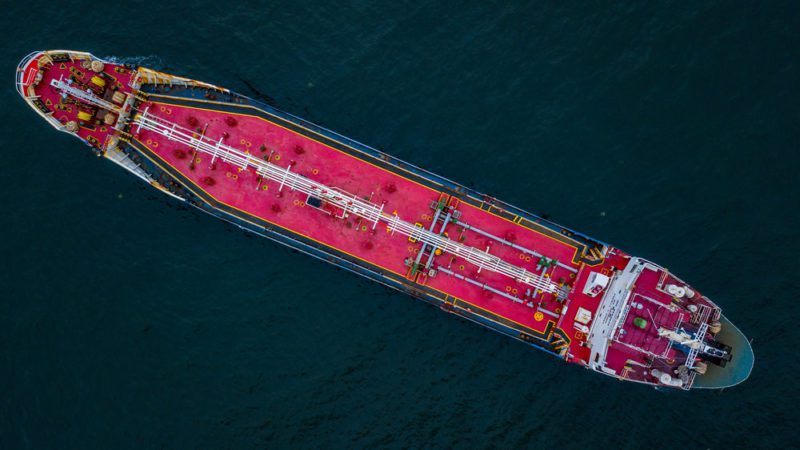 Drone Photo Of A Product Tanker carrying Gasoline.
