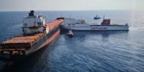 Photos: Oil Spills After Tunisian Ferry T-Bones Anchored Containership in Mediterranean